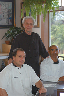 Left to right: Hugh Boggs, Patissier Chef; Luciano Zanon, Executive Chef/Owner; Pascal Molle, Sous Chef